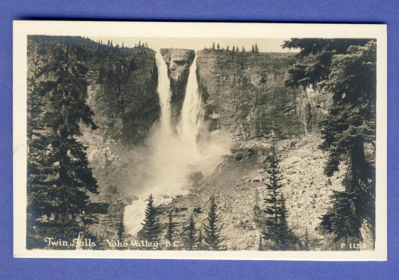 Yoho Valley,British Columbia/BC, Canada Postcard,Twin Falls