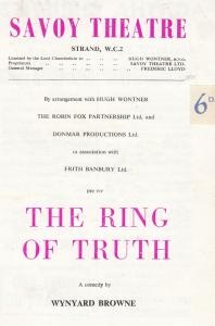 The Ring Of Truth Lionel Gamlin BBC WW2 Comedy Theatre Programme