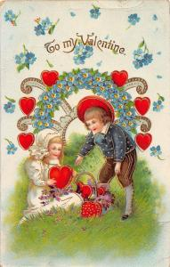 D62/ Valentine's Day Love Holiday Postcard c1910 15904 Gold Kids Hearts 17
