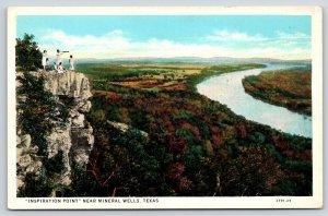 Mineral Wells Texas~Inspiration Point: Young Ladies~Telescope~Binoculars~1929