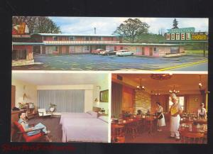EUGENE OREGON TRAVEL INN MOTEL 1950's CARS VINTAGE ADVERTISING POSTCARD