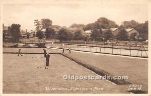 Old Vintage Lawn Bowling Postcard Post Card Ulverston, Lightburn Park Real ph...