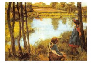Postcard Art Young Girls on the River Bank by Eiler Sorenson (Denmark) #739
