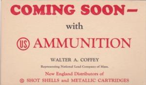 Advertising Ammunition Walter A Coffey Massachusetts Shot Shells & Metallic C...