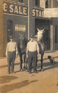 EL Reno OK Engle Transfer Storage Horses Dog Real Photo Postcard