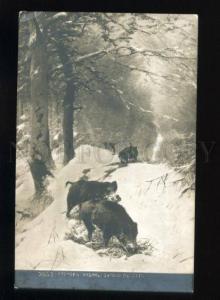 163376 HUNT Winter WILD BOAR by KRENER Vintage russian PC