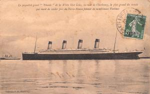 Titanic Ship Post Card Old Vintage Antique Le Paquebot geant Postal used on f...
