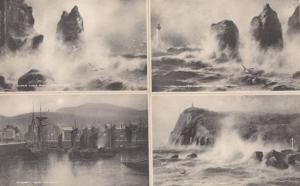 Shipping Disaster Sea Waters Isle Of Man 4x Antique Postcard s
