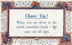 Jonah from Hebrew Bible Came Out OK Depression Proverb Postcard