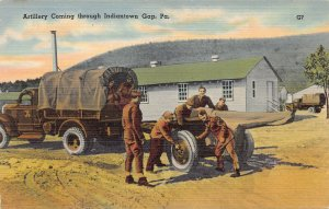 Artillery Coming Through Indiantown Gap, PA., U.S. Army, World War II Postcard