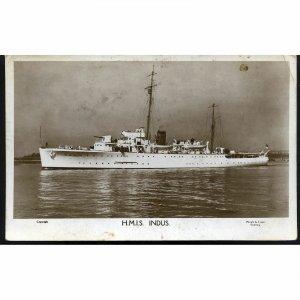 Wright & Logan Real Photograph Postcard 'H.M.S. Indus'