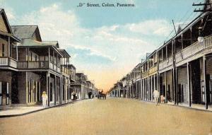 Colon Panama D Street Scene Historic Bldgs Antique Postcard K79736
