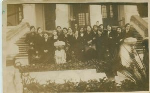 Romania school social history 1934 photo postcard Bucuresti back note