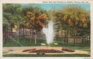 Indiana Winona Lake Flower Beds And Fountain On Hillside