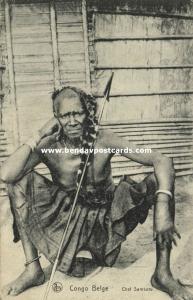 belgian congo, Armed Native Chef Samkuru (1910s)