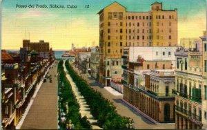 Vintage Lin Carte Postale - Habana Cuba - Paseo Del Prado Oiseau-eye Vue