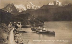 Beatenbucht am Thunersee Eiger monach und Jungfrau steamer ship