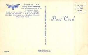 MADISON, WI Wisconsin  WING'S INN RESTAURANT  Interior~Bar  ROADSIDE  Postcard