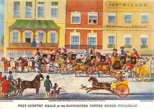 Postcard West Country Mails at Gloucester Coffee House 1828 by James Pollard 6V