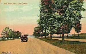 LOWELL MASSACJISETTTS~SPEEDWAY-CONVERTIBLE AUTOMOBILE~1910s POSTCARD