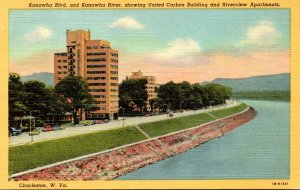 West Virginia Charleston Kanawha Boulevard & Kanawha River Showing United Car...