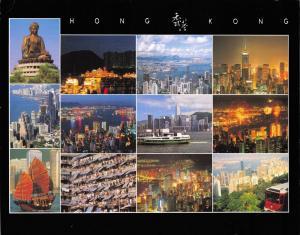 Large Format Hong Kong Postcard Multi View OS119