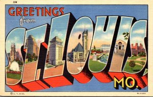 Missouri Greetings From St Louis Large Letter Linen Curteich