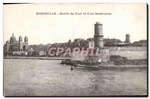 Old Postcard Marseille output port and Fort St John