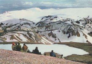 Crowds Watching Torfajokull Glacier Iceland Postcard