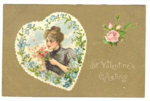 St. Valentine's Greeting, Insert of woman holding flowers, PU-1908