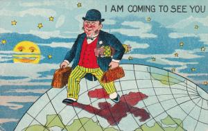 Man traveling over earth wearing bowler hat, striped pants red vest and coat,...