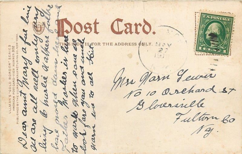 Albany~New York Central Railroad Depot~Folks on Corner~Ullman Gold Border~1905