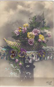 RP, Hand-colored, Woven basket of flowers on pedestal, PU-1913