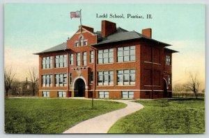 Pontiac Illinois~Ladd Elementary School~North Ladd Street~1910 Postcard