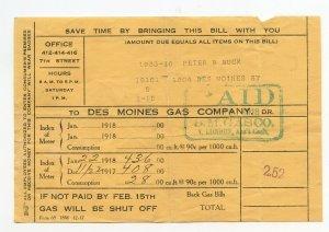 Des Moines Gas Company Dec 22 191 Jan 22 1918 Bill