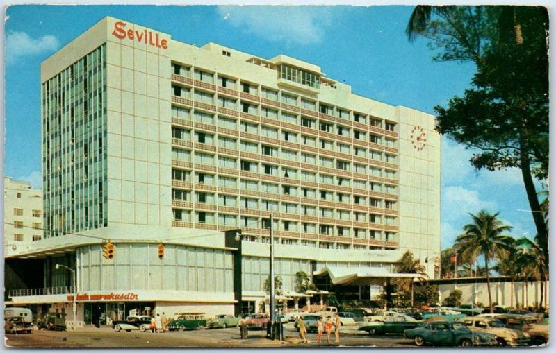 Miami Beach Florida Postcard The Seville Hotel Street View 1959 Fl Cancel