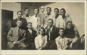Medical Students Pose Anatomy Skeleton Lincoln NE 1912 Real Photo Postcard xst