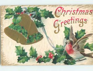 Pre-Linen christmas BEAUTIFUL BIRD PULLS ON RIBBON TO RING BELL hr2697