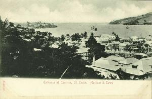St. Lucia, B.W.I., CASTRIES, Harbour and Town (1900s) Postcard