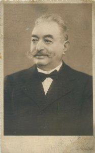 Postcard elegant costume gentleman fancy bowtie moustache Siegmund Packer photo