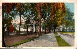 Maine Bangor Scene On Broadway 1925 Curteich