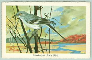 Mississippi State Bird~Mockingbird Perched on Bare Branches~River~1968 Ken Haag