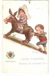 JIMMY. Caricature, Helping the donkey Vintage spanish postcard