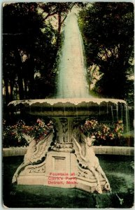 Detroit, Michigan Postcard Fountain at Clark's Park United News Co. c1910s