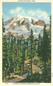 Rainier National Park, Highway Entering Paradise Valley, ...