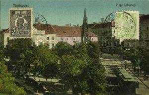 romania, TIMIȘOARA, Piața Libertății, Tram Street Car (1926) Postcard