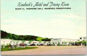 Mansfield, PA Postcard KENDRICK'S MOTEL & Dining Room Route 15 Roadside Linen