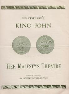King John Shakespeare Victorian Julia Septon of The Scarlet Pimpernel Programme