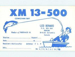 Pre-1980 RADIO CARD - CB HAM OR QSL Duncan On Vancover Island BC AH1185