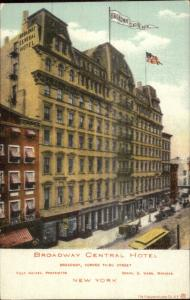 New York City Broadway Central Hotel Corner of Third c1905 Postcard